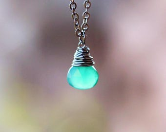 Jade Drop Necklace Natural Jade Necklace Green Jade Pendant Tiny Drop Jade Silver Necklace Drop Necklace Wire Wrapped Drop Necklace Emerald