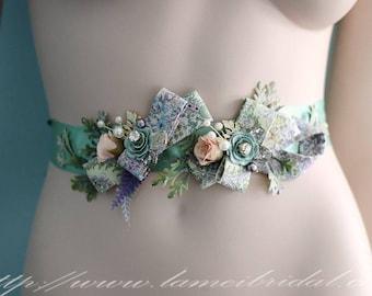 Special Design Mint Green Flower  Floral fabric Wedding Dress Sash ,Rose Bridal Belt for outdoor Wedding