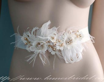 Simple Design Beautiful Hand Cut Flower Wedding Sash with feather, Ivory white Bridal Belt with Gold Beaded leaf