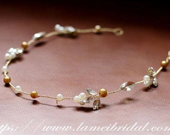 Golden Goddess Wedding Crown Circlet Tiaras with  Champagne pearl and diamond -shaped leaves-Bridesmaids hair vine