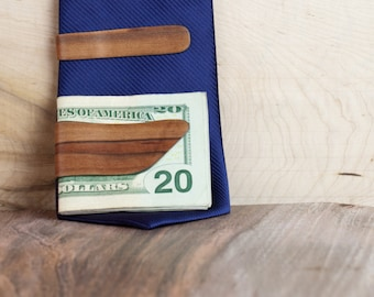 Red Gum Steam Bent Wood Money and Tie Clip Combo- Red Gum with Dyed Green Center