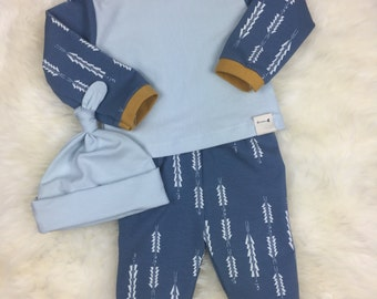Boy Coming Home in Fletching Blue Arrows pants, laptee,beanie