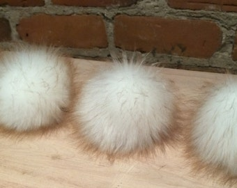 Faux Fur Pom Pom, 3.5 Inch, Bright White with Brown Tips, Faux Fur Ball, Fur Puff, Fur Hat Topper, Knit Hat, Baby Knit Hat, Detachable