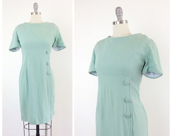 60s Mint Green Cotton Wiggle Dress / 1960s Vintage Hourglass Dress / Large / Size 10