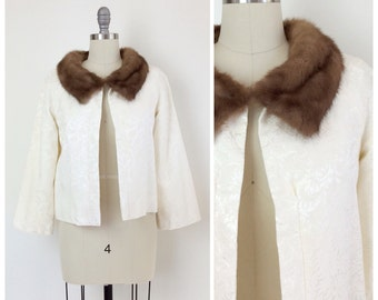 50s Ivory Brocade & Mink Fur Coat / 1950s Vintage Jacket / Medium / Size 6