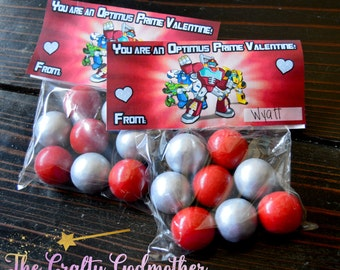 INSTANT DOWNLOAD Transformers Rescue Bots Valentine's Day Printable Birthday Favor Bag Topper