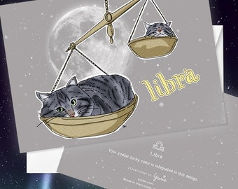Libra Cat zodiac sign + lucky color cards Greeting Card (5x7 size) Cat astrology, silver tabby cats, siberian