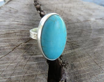 Turquoise ring, tribal, sterling silver, size 7 3/4, bohemian jewelry, metalwork, oval, gemstone, silver, silversmith, boho chic, bohemian