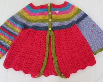 Girl's Croshet Multicolor Cardigan. Soft Cotton Cardigan. Size: 2-3 years. Spring Fashion. Ready to Ship.