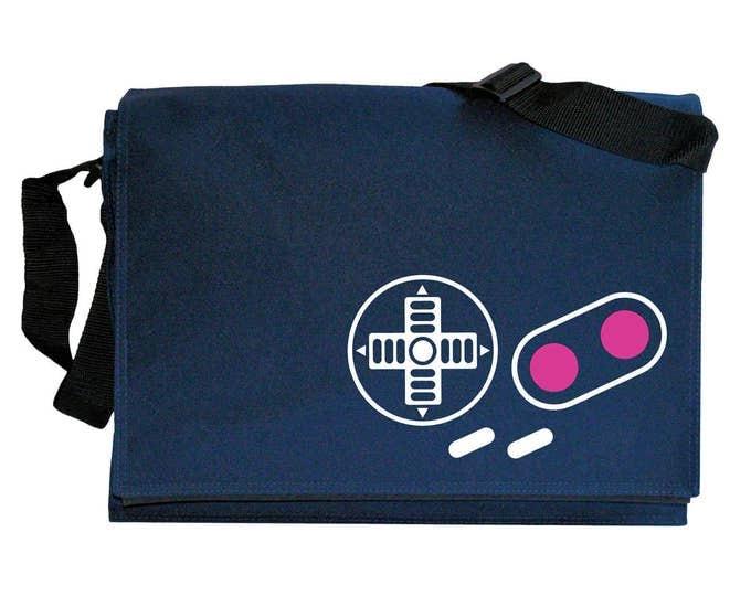 Gameboy Joypad Controller Buttons Navy Blue Messenger Shoulder Bag