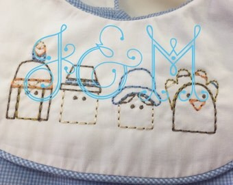 Mini Sketch Outline Thanksgiving Face Embroidery Design