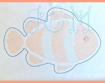 6x10 Stipple Swirly Stitch Clown Fish Vintage Style Embroidery Design