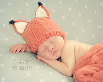 Fox Baby Hat • Fox Newborn Hat • Baby Fox Hat • Newborn Fox Hat • Woodland Baby Hat • Newborn Photo Prop • Baby Shower Gift • Fox Hat