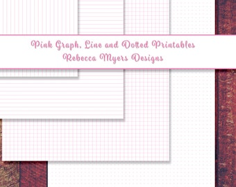 Pink Graph - Dot Grid - Lined Printable Paper