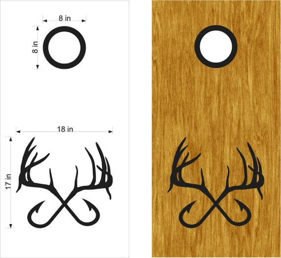Hunting fishing cornhole boards stickers decals bean bag for Hunting and fishing decals