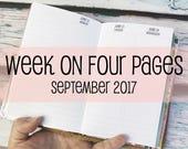 Traveler's Notebook POCKET Size Week on Four Pages {September 2017} #600-59
