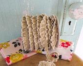 New Tan Crochet Edge Trim No418.  Tan Fabric.  Natural Trim.  Natural Ribbon.  Beige Ribbon.  Beige Ruffle Trim.