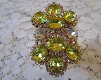 PRICE REDUCED - Free Shipping. Vintage Rhinestone Crystal Belt Buckle