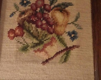 Counted cross stitch Fruit. 8 x 10. Vintage from 1970's.