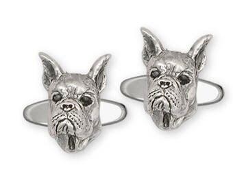 Boxer Cufflinks Jewelry Sterling Silver Handmade Dog Cufflinks BX5-CL