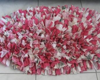 Handmade Shag Rag Rug, Pink-Multi Shag Rag Rug, Oblong Hand Crocheted Rag Rug From Made Of Flaws