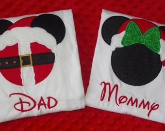 Disney Christmas Appliquéd Shirt- Minnie and Mickey Lights, Minnie and Mickey Santa Claus