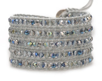 THE STARLIGHT / Wrap Bracelet, Crystal Wrap Braclet, Swarovski Bracelet, Wrap Bracelet, Crystal Beaded Bracelet, Grey, Metallic Bead