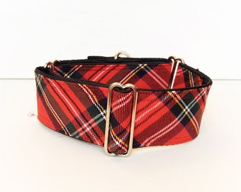 Royal Stewart martingale collar (dog collar, greyhound martingale, fall scarf plaid scottish red  cotton satin colorful )