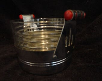 ART DECO Ice Bucket with BAKELITE Handles - Chrome and Glass Ice Bucket with Red Bakelite Handles