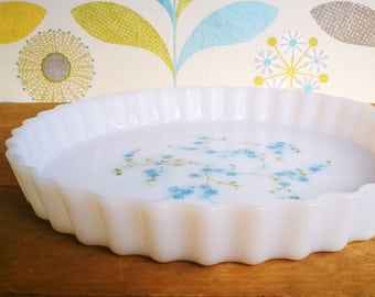 Arcopal France blue flowers pie plate, Pyrex style Pie dish, Arcopal flan dish, Milk glass Quiche dish, Vintage Arcopal, Vintage kitchen