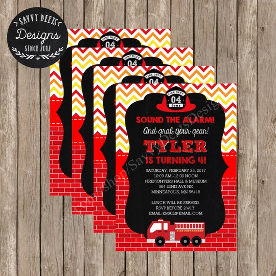 Fire Fighter Birthday Party Invitation Printable - Fire Station Birthday Party Invite - Fire Truck Birthday Party - Fireman Birthday Party