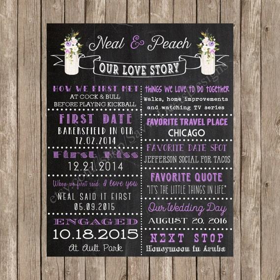 Love Story Printable Poster - Watercolor Purple Flowers in Mason Jar Chalkboard Love Story - DIY Printable - Lavender Purple Blush Flowers
