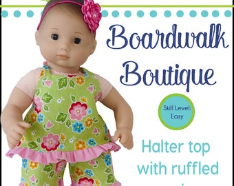 Pixie Faire Oh Sew Kat Boardwalk Boutique Doll Clothes Pattern for 15 inch Bitty Baby Dolls - PDF