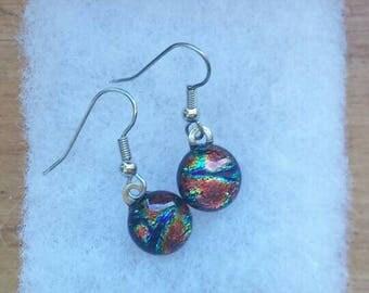 Copper/Blue/Green dichroic glass earrings, Fused glass earrings, Art glass earrings, Dangle earrings, Kiln fired glass earrings,  EA219