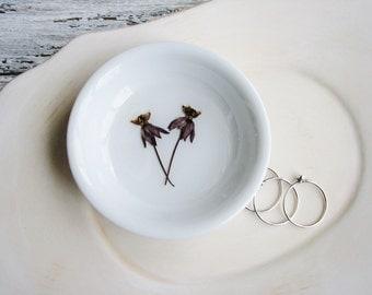 Ring Dish Organizer, Flower Ring Dish, Pressed Flowers Dish, Trinket Holder, Naturalist Gift
