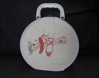 Vintage Children's Round Ballet Case, Air Flite,  Paper Covered, Stitched, Heavy Cardboard with Metal Hinges