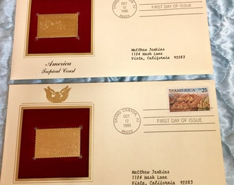 REDUCED America, Golden Stamp Replicas 22k Gold (2 Stamps)