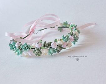Mint pink succulent crown Succulent headband Bridal tiara with succulents bridal halo floral tiara Succulent crown Succulent halo headwreath
