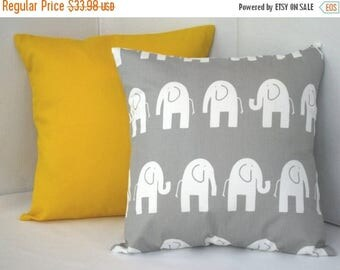 "CLEARANCE Pillow Cover, Yellow, Pillows, Decorative Pillows, Decorative Throw Pillows, Gray Elephant Pillows, Baby, Nursery, 2 - 18"" x 18"""
