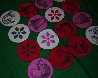 Christmas - Swedish Design - Table cloth - Rolf Lagerson - Christmas Circles - Julringar - 1962 - Retro Hand print
