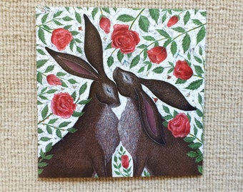 Hares & Red Roses Greetings Card