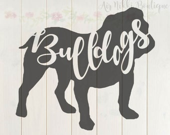Bulldogs, bulldog outline, SVG, PNG, DXF files, instant download, cut file, cameo, cricut, cut n scan