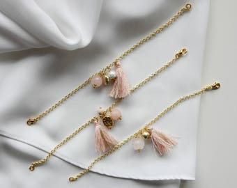 Pink quartz and tassel bracelet