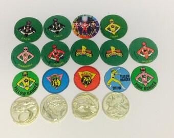 Vintage Power Rangers, Pogs, Gold Coins, 1990s MMPR, Power Rangers Action Figures, 1994 Saban Pogs, Mighty Morphin, Vintage 1990s Toys