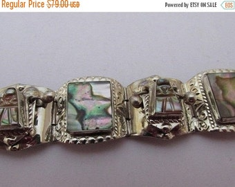 Vintage Mother of Pearl Bracelet, Silver and Abalone, Hallmarked Hechoen Mexico, Collectible Jewelry