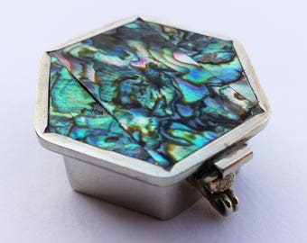 Vintage Abalone, Pill Box, Stash Box, Classic Design, Hexagonal, Iridescent Abalone Shell, Quality Craftsmanship, Handmade in mexico, 1980s