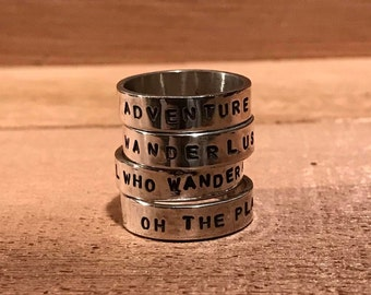 Custom Handcrafted Travel Inspired Sterling Silver Ring