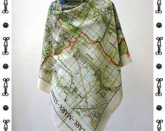 KARL- MARX- STADT Map Scarf, Silk and Cotton, card, plan, communism, Scarves, Shawls, digital print, 1960 years, wraps, Karl Marx