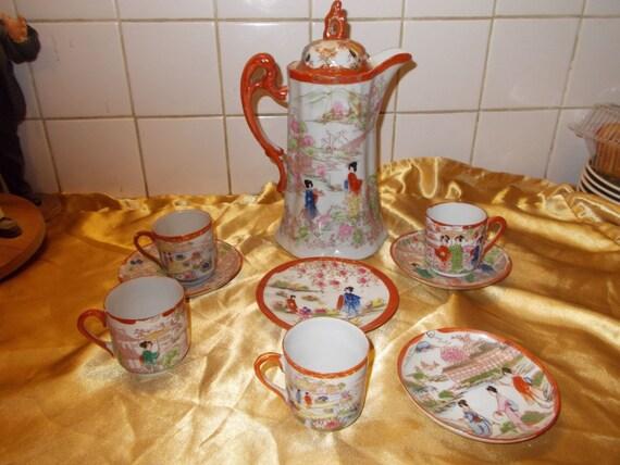 Vintage Japanese Chocolate Pot! Various Cup Saucers!