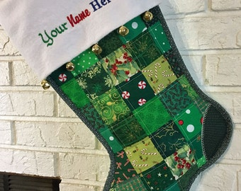Quilted Christmas Stocking, Green and Red Patchwork, Free Personalization, with Flannel Cuff and Jingle Bells, Fully Lined